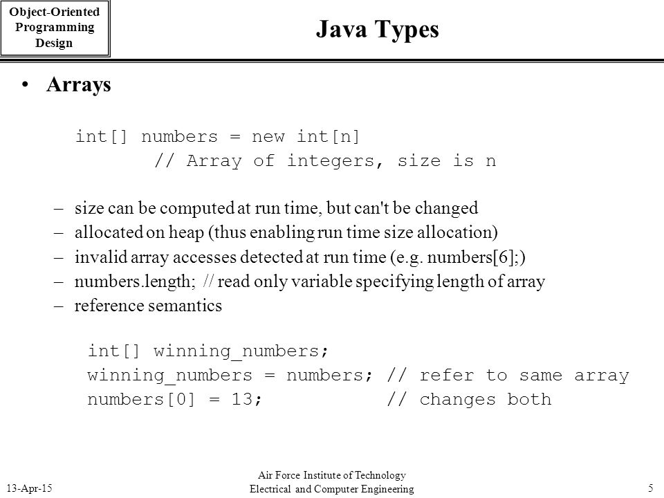 Java Types Arrays int[] numbers = new int[n]